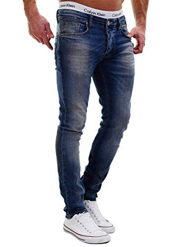 MERISH Jeans Herren Slim Fit Jeanshose Stretch Designer Hose Denim 501...