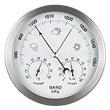 GardenMate Station météo analogique 3 en 1 en inox Ø14 cm - Baromètre,...