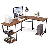 Teraves Reversible L Shaped Desk with Shelves Round Corner Computer...
