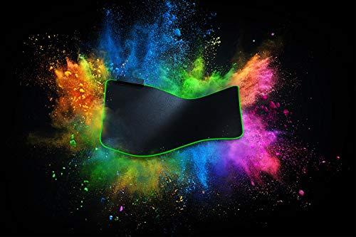 Razer Goliathus Extended Chroma - Tapis de souris de jeu XXL extra large avec éclairage RVB (support de câble, surface en tissu, bord matelassé, optimisé pour toutes les souris) Noir