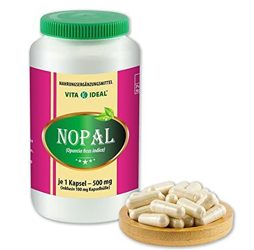 VITAIDEAL ® Nopal (Feigenkaktus, Opuntia) 360 Kapseln je 500mg, aus rein natürlichen Kräutern, ohne Zusatzstoffe von NEZ-Diskounter