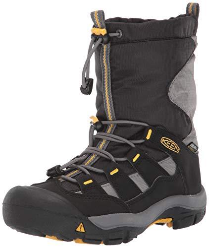 KEEN Kid's Winterport Fashion Boot, Black/Gargoyle, 4 M US Big Kid