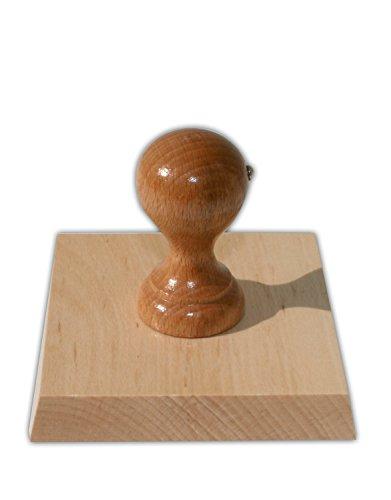 Holzstempel mit individueller Stempelplatte, quadratisch, 100 x 100 mm, für Adressen, Logos oder Texte – Textstempel, Firmenstempel, Adressstempel