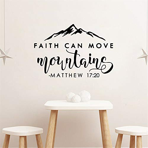 Faith Can Move Mountains Wall Decal Bible Verse Quote Matthew 17:20 Wall Sticker Scripture Wall Decor