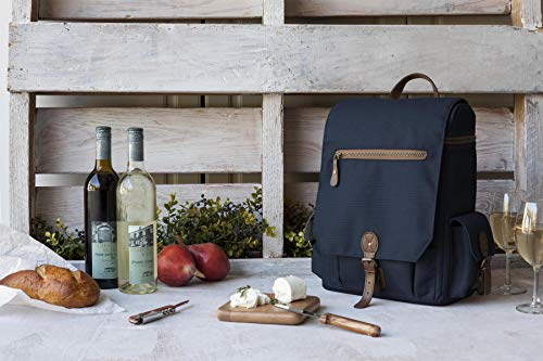 LEGACY - a Picnic Time Brand Moreno Insulated 3-Bottle Wine Tote with Wine and Cheese Accessories, Navy