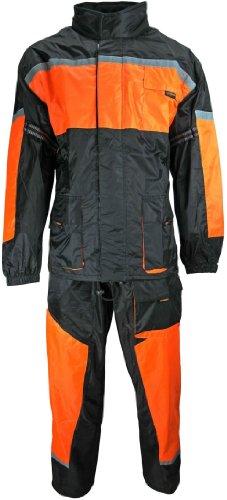 HEYBERRY Motorrad Regenkombi Regenhose Regenjacke schwarz neon orange Gr. XL