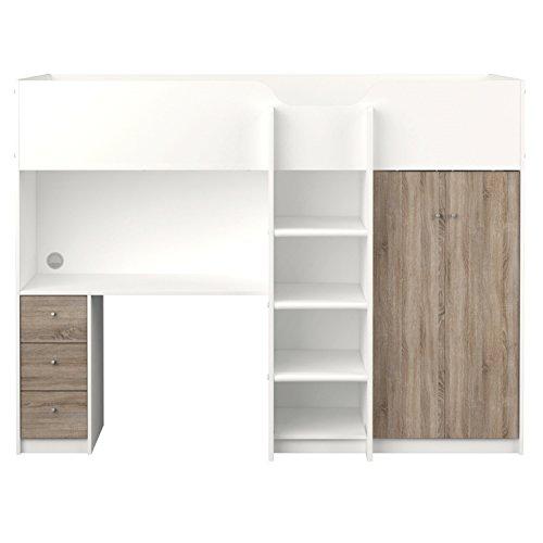 Dynamic24 Etagenbett IRMA 90x200 Multifunktionsbett mit Schreibtisch und Schrank weiß