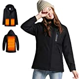 Women's Heated Jacket with Attached Hood, Heated Coat Waterproof and...