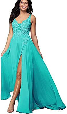 Features: Elegant A Line lace appliques chiffon formal dress , illusion lace bodice floor length gown, A Line silhouette, v-neck , with a bra inside, fully lined, boned. Occasions: Perfect for your prom, wedding party, graduation, homecoming, celebri...