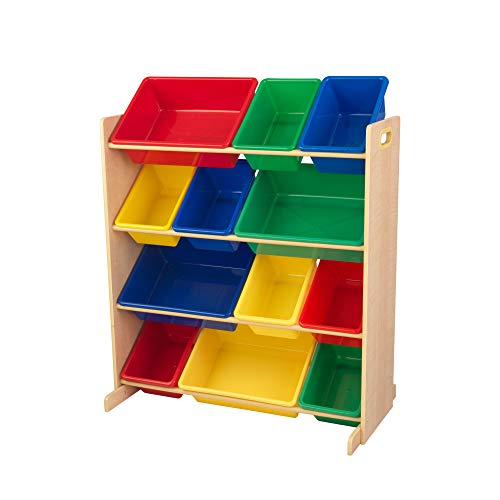 Kidkraft 16774 Sort It & Store It - Scaffale con 12 Contenitori per Giocattoli, per la Cameretta, Colori Primari e Legno Naturale