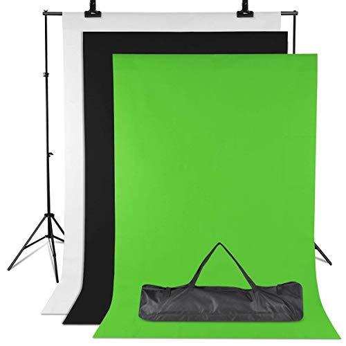 Amzdeal Fondale Fotografico Kit - Supporto 3m * 2m, 3pcs 2m × 1.6m Sfondi non Tessuto Verde/Bianco/Nero, Treppiede Regolabile 65-200cm Fondali per Fotografia Ritratto Oggetto Registrazione Video