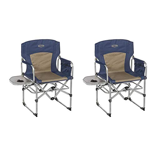 Kamp-Rite Compact Folding Outdoor Camping Directors Chair w/Side Table (2 Pack)
