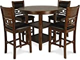 New Classic Furniture Gia 5-Piece Counter Dining Table Set, 42.25-Inch, Brown