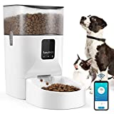 Lewondr 7L Automatic Cat Feeder With APP Control, 2.4G WiFi Enabled Dog Auto Dry Food Dispenser With Locking buckle Lid,up to 10 Meals and 12 Portion Control Daily, 10S Voice Recorde for Dogs and Cats