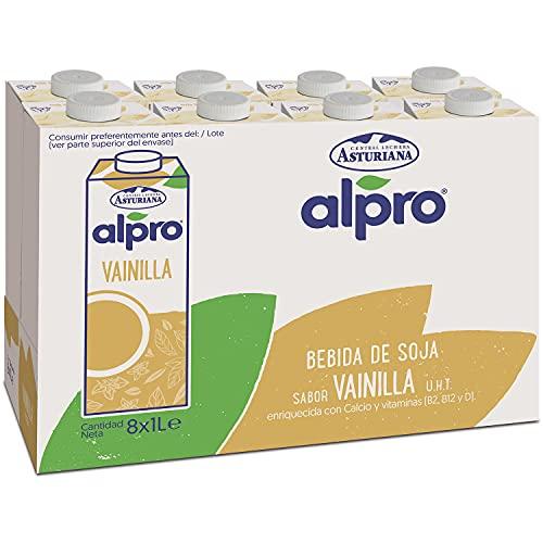 Alpro Central Lechera Asturiana Alpro - Bebida De Soja Con, 100% Vegetal, Rica En Proteínas, Apta Para Veganos, Pack De Briks De 1 Litro, Vainilla, 8 Unidad
