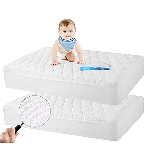 Safe and Sound 2 Pack Crib Mattress Protector, Toddler Waterproof Organic Bamboo Quilted Fitted Mattress Pad with 28'' x 52'' Baby Mattress Cover