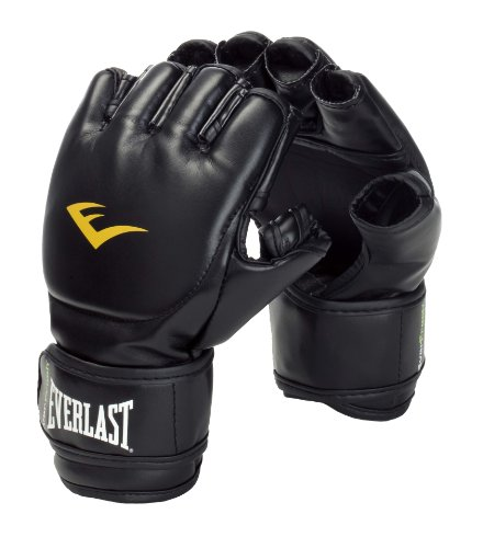 Everlast Martial Arts PU Grappling Gloves Guantilla MMA, Unisex, Negro, S