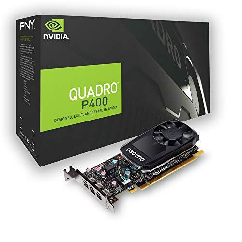PNY nVidia Quadro P400 Scheda Grafica da 2 GB, 256 Cuda Core, Adattatori DP, PCI Express 3.0 x16, Nero