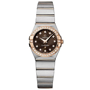 Omega Constellation Brown Dial Steel and 18kt Rose Gold Diamond Ladies Watch 123.25.24.60.63.001