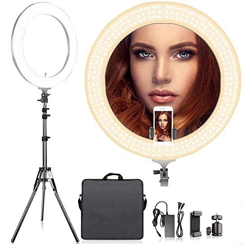 Arisen 最新版リングライト 直径48cm/18インチ LEDリングライト カメラ写真ビデオ用照明キット 80W 2700K-5500K二色無段階調整 480個の高輝度SMD LED 2Mライトスタンド、Youtube、自撮り撮影、生放送、化粧、スマートフォンや一眼レフカメラなどに使う
