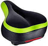 TONBUX Most Comfortable Bicycle Seat, Bike Seat Replacement with Dual Shock Absorbing Ball Wide Bike Seat Memory Foam Bicycle Gel Seat with Mounting Wrench (Black/Green with Reflective Sticker)