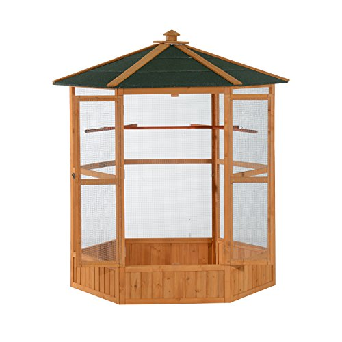 PawHut 65' Large Wooden Hexagonal Outdoor Aviary Flight Bird Cage with Covered Roof