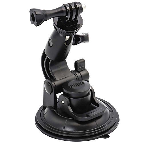 EXSHOW Camera Car Windshield Suction Cup Mount for GoPro, 360 Rotation Heavy Duty Car Window Holder with 1/4-20 Thread for GoPro Hero 9 8 7 6 5 4 SJCAM Canon g7x Vlogging DSLR and Other Action Camera