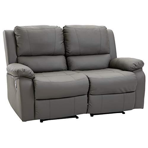 HOMCOM Doppelsofa Relaxliege Relaxsessel verstellbare Rückenlehnen Holzfüße PU Grau 95 x 141,5 x 94,5 cm