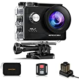 Apexcam Caméra Sport 4K 20MP Action Camera WiFi Caméra Étanche 40M Ultra HD Caméra d'action 170 ° Grand-Angle avec 2.4G Télécommande et 2 Batteries...