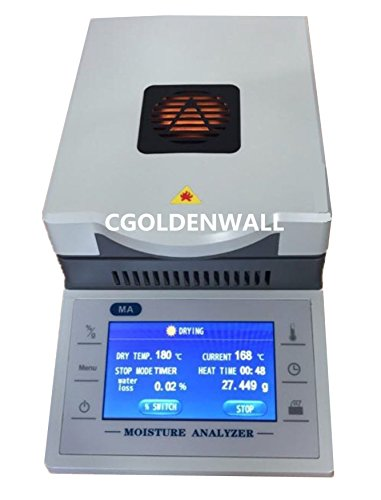 CGOLDENWALL DHS-16A Digital Touch screen Fast Lab Moisture analyzer tester Halogen moisture meter for powder/herb/tea/meat/food CE certification 110V/220V (50g Capacity, 0.001g /0.1% Readability) 6