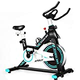 Afully Indoor Exercise Bike, Indoor Cycling Stationary Bike Belt Drive with Adjustable Resistance, LCD Monitor, for Home Cardio Workout