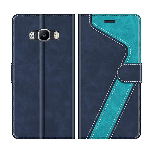 MOBESV Custodia Samsung Galaxy J5 2016, Cover a Libro Samsung Galaxy J5 2016, Custodia in Pelle Samsung Galaxy J5 2016 Magnetica Cover per Samsung Galaxy J5 2016, Elegante Blu