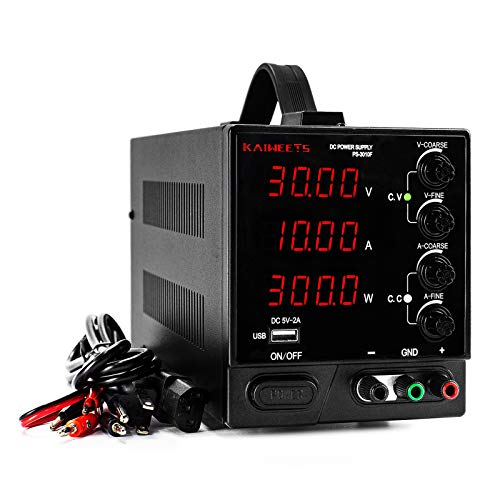 DC Power Supply Variable 30V 10A, KAIWEETS 4-Digit...