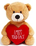 I Miss You Gifts Large 12 inch Teddy Bear I Miss Your Face- Cute Long Distance Relationships Gift, Friend, Couples, Valentines Day, Relationship, Boyfriend,Girlfriend, I'm Sorry, for Her, Him