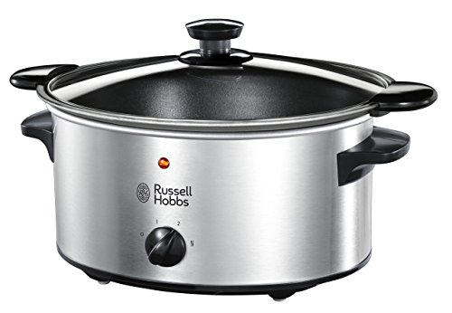 Russell Hobbs Cook@Home - Olla de Cocción Lenta (Cocina Lenta, Olla Baja Temperatura, Inox y Negro, 3,5l) -ref. 22740-56