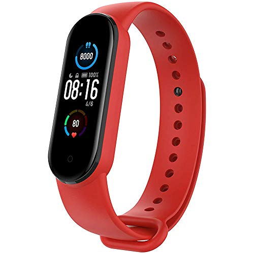 M5 Orologio Fitness Watch Smartwatch Schermo 1.1' AMOLED Uomo Donna Contapassi Cardiofrequenzimetro...