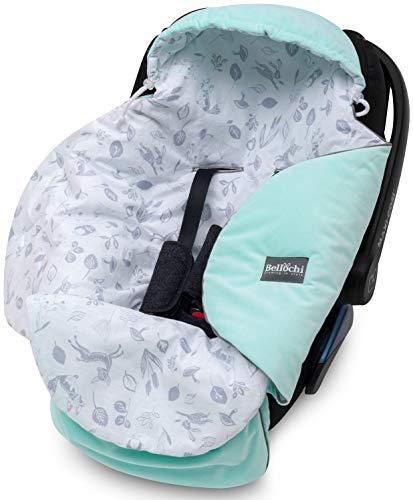 Bellochi Universal Baby Einschlagdecke für Babyschale und Autositz Kinderwagendecke Fußsäck aus Baumwolle und Samt z.B. passend für Maxi-Cosi, Römer, Cybex - Grün