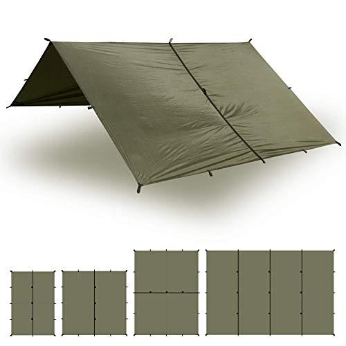 Aqua Quest Safari Tarp - 100{ae64b6e9119551484c7ae8a00583edbdc2b5a4064b7ec1a073269f0c2c901836} wasserdichtes, leichtes SilNylon Bushcraft Camping Obdach - 3x3 m Olivgrün