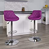 Flash Furniture Contemporary Purple Vinyl Bucket Seat Adjustable Height Barstool with Diamond Pattern Back and Chrome Base