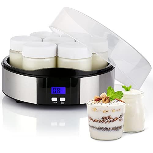 Yaourtière Électrique, Machine à Yaourt avec 7 Pots en Verre de 200ml, Écran LCD et Minuterie d'Arrêt Automatique Compacte Yaourtière Maison en Acier Inoxydable pour Yaourt, Fromage, Desserts Lactés