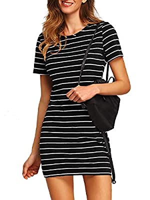 Material: Stretchy and soft material, comfortable to wear Features: Short sleeve, round neck, above knee, short mini dress, slim fit, black and white striped dress, tshirt dress Occasions: Basic and classic summer dress, suit for different occasions ...