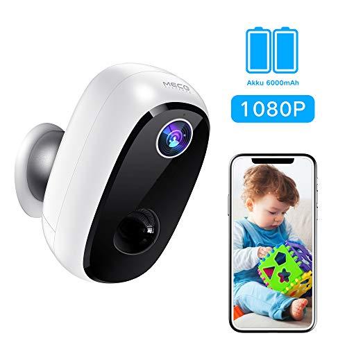 MECO ELEVERDE Outdoor WLAN Kamera, Überwachungskamera mit Akku 1080P Baby Monitor mit PIR-Bewegungserkennung, 2Wege-Audio, Nachtsicht, integrierter SD-Steckplatz, IP65 wasserdichte für Innen&Aussen