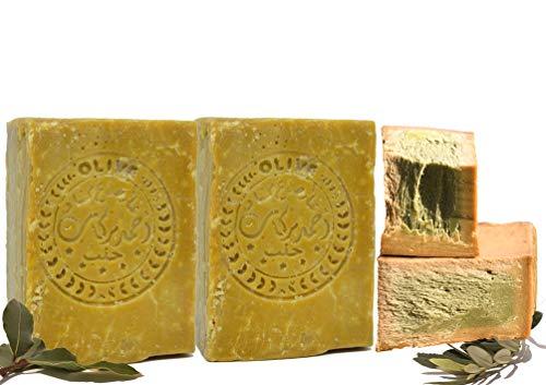 Jabón original de Alepo 2x200g 60% de aceite de oliva, 40%
