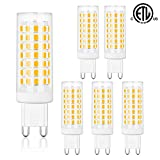 Comzler G9 LED Bulbs Bi Pin Base 6W Soft White 3000K - G9 Base Bulbs, 60W Halogen Equivalent, 550LM, G9 Soft White Bulbs for Home Lighting, Non-dimmable, Pack of 6