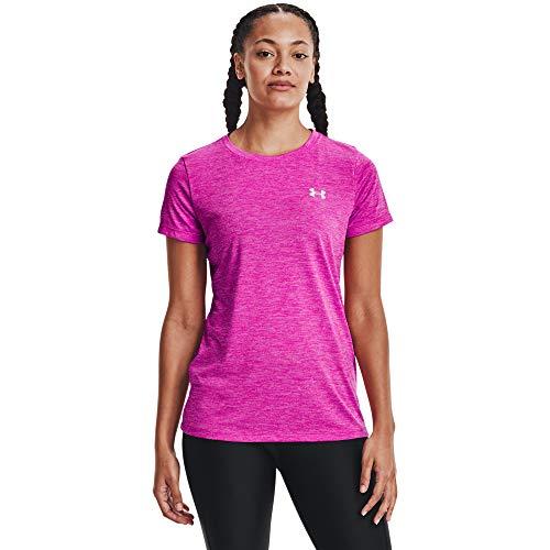 Under Armour, Maglietta Sportiva da Donna Tech Twist Traspirante e a Maniche Corte, Comoda e Funzionale, Donna, T-Shirt, 1277206-660, Meteor Pink/Planet Pink/Metallic Silver (660), M
