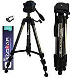 Eloies® Travel Series TL-59 Aluminum Tripod Stand for Mobile Phone and DSLR Digital Camera 57'/4.7Feet   Lightweight Compact Size Travel Tripod Max Height with Mobile Holder (Titanium (Gray))