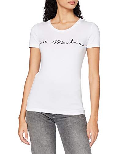 Love Moschino Short Sleeve t-Shirt_Italic Font Logo, Bianco, 50 Donna