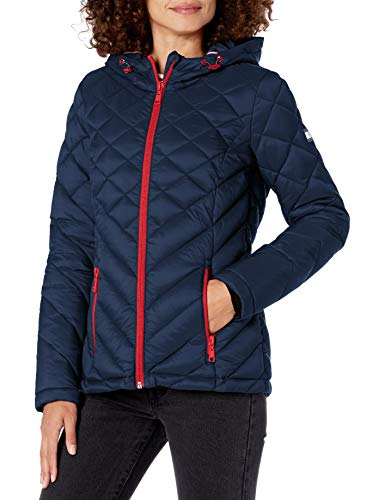 Tommy Hilfiger Women's Hooded Quilted Packable Jacket, Bluish NavyLarge, Medium