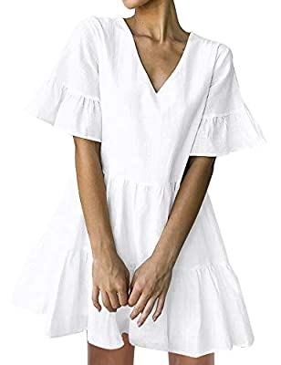 Material: Cotton Blend, No Stretchy. Made from a super lightweight raw fabric. Soft and cozy wear, breathe freely. The light color is fully lined. Other colors have lining on the chest. If you are curvy women or with a larger chest, please regard of ...