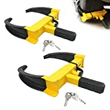 KAYCENTOP Wheel Clamp Lock Security Tire Lock Anti Theft Lock Max 10 inch Tire Width and 7' Reach for Trailers SUV Boats ATV's Motorcycles Golf Cart 2 Packs 4 Aliked Keys